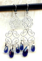Chandelier Earrings Dark Sapphire Faceted Glass and Sterling Filigree