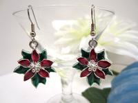 Christmas Earrings Poinsettias Red and Green Enameled Silver Metal