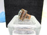 Bead Woven Aqua Cocktail Ring Aqua Swarovski Crystal Statement Ring