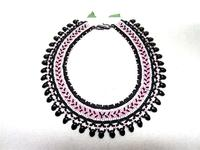 Bead Woven Collar Necklace Art Deco Mauve and Matte Black