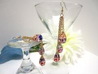 Dangle Earrings Colorful Hand Painted Glass Teardrops