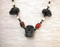 Black Stone Triple Skull Day of the Dead Necklace Red Horn White Coral