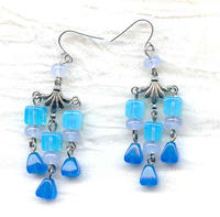 Handcrafted Blue Opal Glass Beads Chandelier Earrings