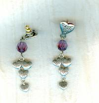 Long Earrings with Amethyst Crystal and Dangling Pewter Heart Charms