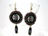 Long Black, Lilac Dangle Earrings Swarovski Crystals, Lampwork Beads