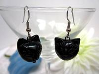 Cat-Lover Earrings Black Cat Faces Blackstone Handmade Bargain