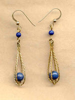 Dangle Earrings Lapis Lazuli Caged in Gold