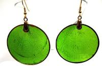 Stunning Green Capiz Shell Big Lightweight Summer Earrings