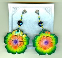 HIBISCUS FLOWER EARRINGS: Sunset, Violet, Green Carved Coconut Shell