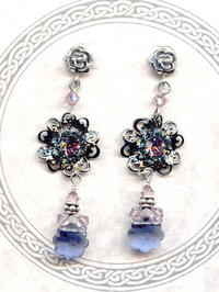 Windflower Earrings: Lavender and Periwinkle Crystals and Sterling