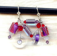 Lilac, Red and White Opal Cane Glass and Crystal Dangle Earrings