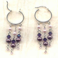 Crystal and Pearl Sterling Silver Hinged Hoop Earrings:  Twilight