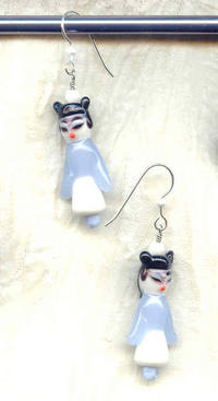Lampwork Glass Blue and White Asian Lady Earrings