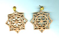 Delicate Laser Cut Walnut Wood Rosette Earrings