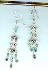 Sterling Silver Marcasite Art Deco Earrings with Swarovski Crystals