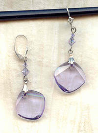 METRO EARRINGS: Swarovski Violet Crystal and Sterling Silver