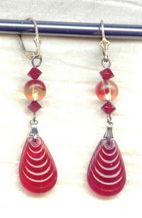 ROMANTIC RIPPLES EARRINGS:  Vintage Cranberry Glass Drops