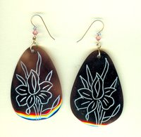 Chocolate Brown Pear Shaped Shell Earrings with Etched Lotus Pattern
