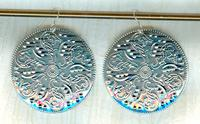 GYPSY MOON: Exotic Stamped Silver Wide Round Earrings