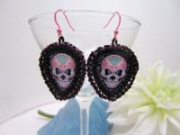 Sugar Skull Guitar Pick Earrings Light Weight and Cool