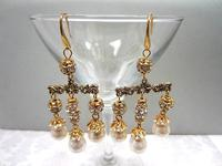 Sparkling Earrings Baroque Glass Pearl Gold Chandeliers OOAK