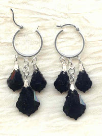 Baroque Jet Swarovski Crystal Earrings