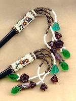 Hair Sticks Beaded Art Nouveau Floral