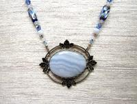 Beaded Pendant Necklace Blue Lace Agate, Swarovski Crystals