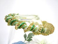 Graduated Bead Woven Necklace Jade and Gold Spiral