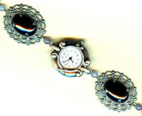 Gunmetal Fashion Watch with Black Onyx Band