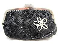 Black Evening Clutch with Swarovski Crystal and Pearl Embroidery