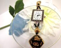 Ladies Wristwatch Elegant Black and Gold Cloisonne