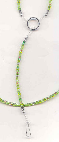 GRASSLANDS: Bright Green Mix Beaded Lanyard, ID Badge Holder, Keyring