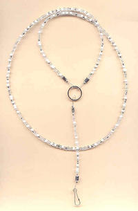 White and Clear Mix Beaded Unisex Lanyard Necklace ID Badge, Key Ring