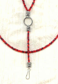 Multi Red Beaded Unisex Lanyard Necklace, Keyring, ID Badge Holder