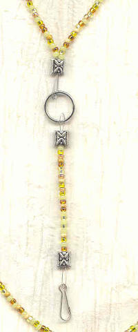 SUNSHINE: Multi Yellow Bead Unisex Lanyard Necklace Key, Badge Holder