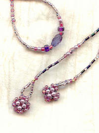 Long Orchid, Rose and Violet Lariet Necklace with Pearl PomPoms