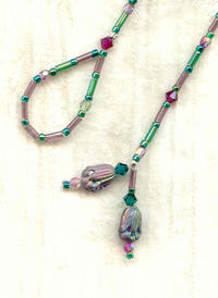 Short Emerald, Lavender and Ruby Lariat Necklace with Tulip Details