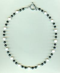 Hematite and White Howlite Men's or Unisex Necklace