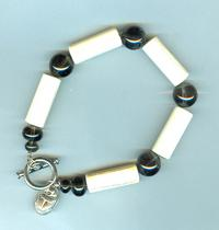 Smoke Quartz and Bone Bead Mans Bracelet with Scarab Charm