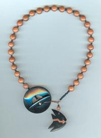 Blackstone and Goldstone Front Closure Necklace, Tropical Fish Totem