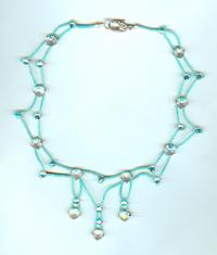 Hand Beaded Aqua and Vintage Crystals Victorian Style Necklace