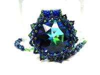 Bead Work Swarovski Crystal Pendant Necklace Blue-Green and Gorgeous