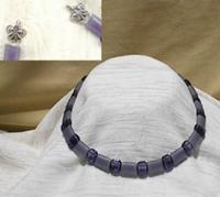 ANGEL WING: Lepidolite Hand Beaded Choker Necklace