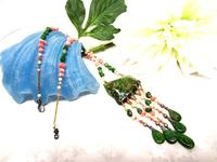 Apple Green Chalk Turquoise and Pink Coral Fringed Necklace