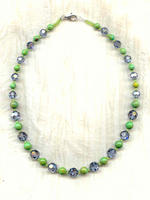 Bright Green Mojave Turquoise and Denim Colored Crystals Necklace