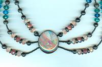THE THRUSH ON THE THISTLE NECKLACE: Victorian Style Polymer Image