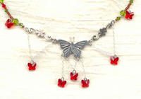 Butterfly Sunset Necklace: Sterling Red and Olivene Swarovski Crystals