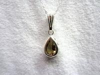 Sterling Silver Pendant Necklace Faceted Hessonite Garnet Teardrop