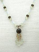Unique Indie Artisan Crafted Smoky Quartz and Prehnite Tassel Necklace